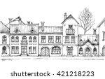 city street  linear buildings ... | Shutterstock .eps vector #421218223