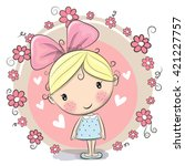 Cute Cartoon Girl And Flowers...