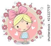 Cute Cartoon Girl And Flowers...