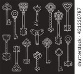 antique keys  ancient symbols ... | Shutterstock .eps vector #421230787
