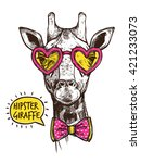 Hipster Giraffe Portrait In...