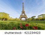 sunny morning in paris and...   Shutterstock . vector #421234423