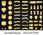 banner vector icon set gold... | Shutterstock .eps vector #421247293