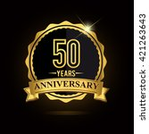 vector emblem 50th anniversary... | Shutterstock .eps vector #421263643