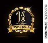 vector emblem 16th anniversary... | Shutterstock .eps vector #421270843