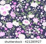 seamless cute floral vector...   Shutterstock .eps vector #421285927
