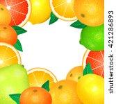 frame of fresh citrus. natural... | Shutterstock . vector #421286893