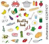 hand drawn healthy food doodles | Shutterstock .eps vector #421297477