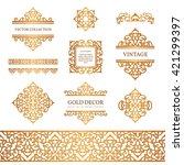 vintage gold borders and frames ... | Shutterstock .eps vector #421299397
