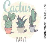 vintage cactus print for t... | Shutterstock .eps vector #421313773
