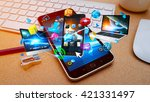 colorful tech devices... | Shutterstock . vector #421331497