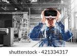 man wearing virtual reality... | Shutterstock . vector #421334317
