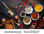 spices with ingredients on dark ... | Shutterstock . vector #421335637