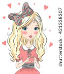 beautiful  sweet  cute blonde... | Shutterstock .eps vector #421338307