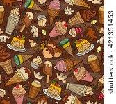 cartoon hand drawn ice cream... | Shutterstock .eps vector #421351453