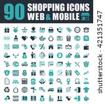 shopping icons set | Shutterstock .eps vector #421351747