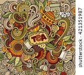 cartoon hand drawn doodles cafe ... | Shutterstock .eps vector #421351987