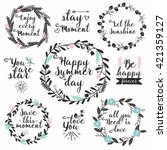 hand drawn vector set with... | Shutterstock .eps vector #421359127