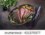 roast beef with vegetable in... | Shutterstock . vector #421370377