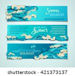 vector set of sea ocean... | Shutterstock .eps vector #421373137