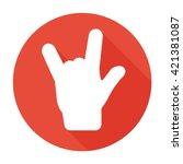 rock hand music icon flat logo... | Shutterstock .eps vector #421381087