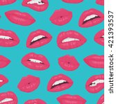 Pink Red Lips Kiss Seamless...