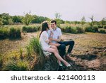 couple in love embracing... | Shutterstock . vector #421400113