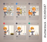 wall repair step by step with... | Shutterstock .eps vector #421404187