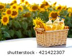 Wicker Basket With Sunflower...