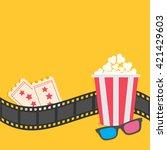 popcorn. film strip border. 3d... | Shutterstock .eps vector #421429603