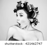 emotional girl with hair... | Shutterstock . vector #421462747