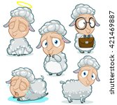 set of sheep character with...   Shutterstock .eps vector #421469887