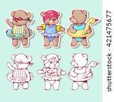 vector set of  funny cartoon... | Shutterstock .eps vector #421475677