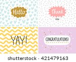Stock vector happy cards set vector templates 421479163