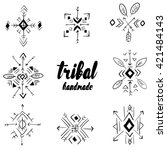 set of tribal ornaments vector. ... | Shutterstock .eps vector #421484143