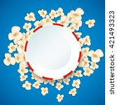 heap popcorn for movie lies on... | Shutterstock .eps vector #421493323