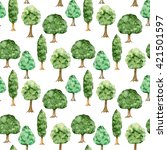 watercolor green trees seamless ... | Shutterstock . vector #421501597
