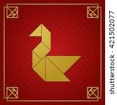 golden tangram swan on red... | Shutterstock .eps vector #421502077