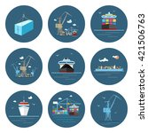set of cargo icons  dry cargo... | Shutterstock .eps vector #421506763