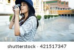 photographer travel sightseeing ... | Shutterstock . vector #421517347