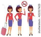 flight attendant in different... | Shutterstock .eps vector #421517623