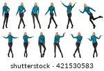 pretty woman in blue leather... | Shutterstock . vector #421530583