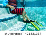 Underwater Kids Legs In Fins I...