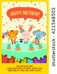 happy birthday with cute... | Shutterstock .eps vector #421568503
