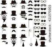 black retro gentleman icons set | Shutterstock .eps vector #421570303