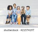 kids fun children playful... | Shutterstock . vector #421574197