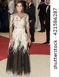 Small photo of New York City, USA - May 2, 2016: Queen Rania of Jordan attends the Manus x Machina Fashion in an Age of Technology Costume Institute Gala at the Metropolitan Museum of Art