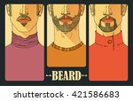 hand drawn. portraits of three... | Shutterstock .eps vector #421586683