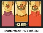 hand drawn. portraits of three... | Shutterstock .eps vector #421586683