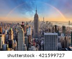 new york city skyline with... | Shutterstock . vector #421599727